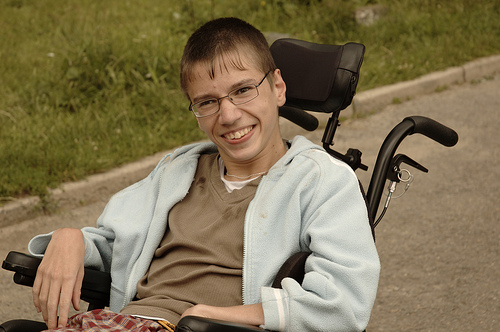 Young man in wheelchair