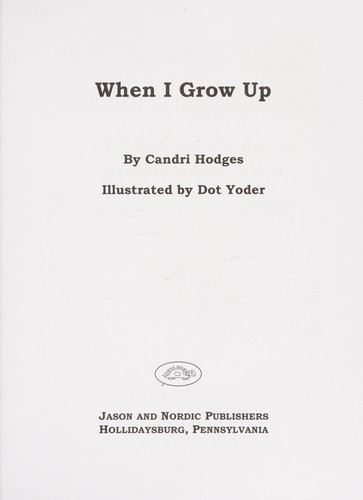 Book Cover, When I Grow Up