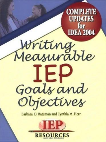 Book Cover, Writing Measurable IEP Goals and Objectives