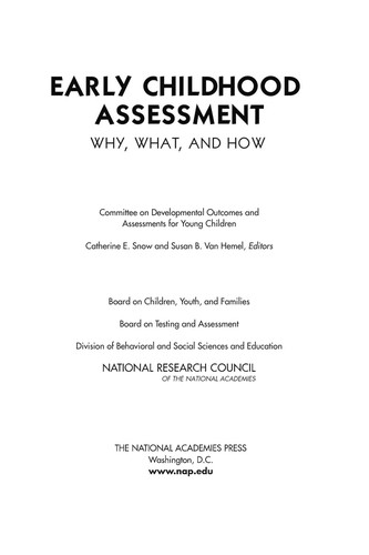 Book Cover, Early Childhood Assessment: Why, What and How